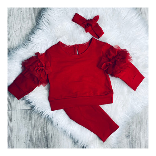 Red ruffle lounge set