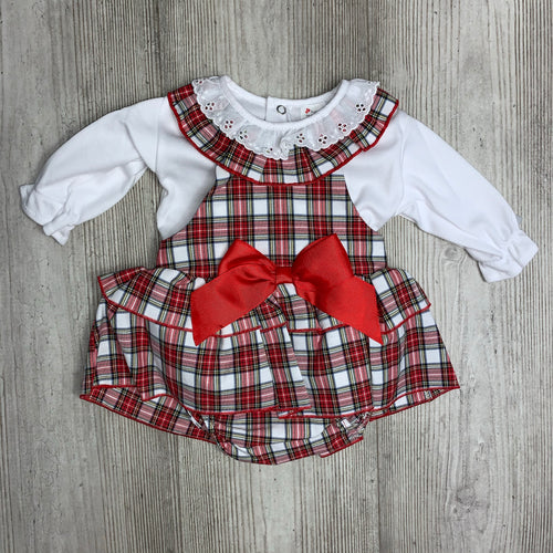 Girls red tartan two piece pinafore