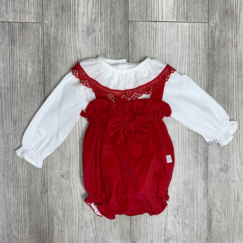 Red two piece bow romper