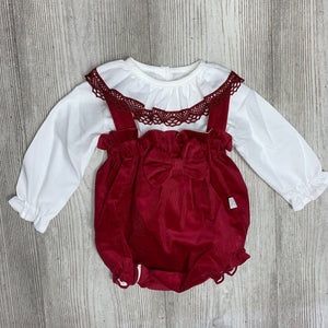Burgundy two piece bow romper
