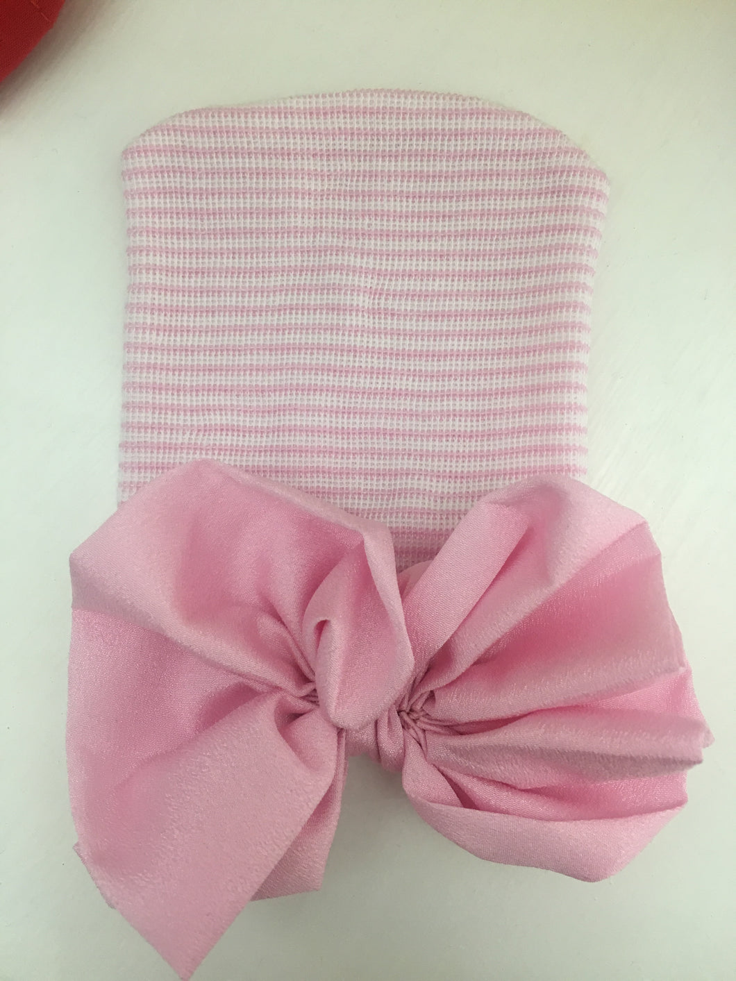 Pink with Pink Satin bow Newborn Oversized Bow Hat