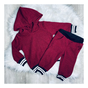 Boys burgundy ribbed lounge set