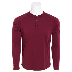 Men's Merino Wool Henley, Crimson