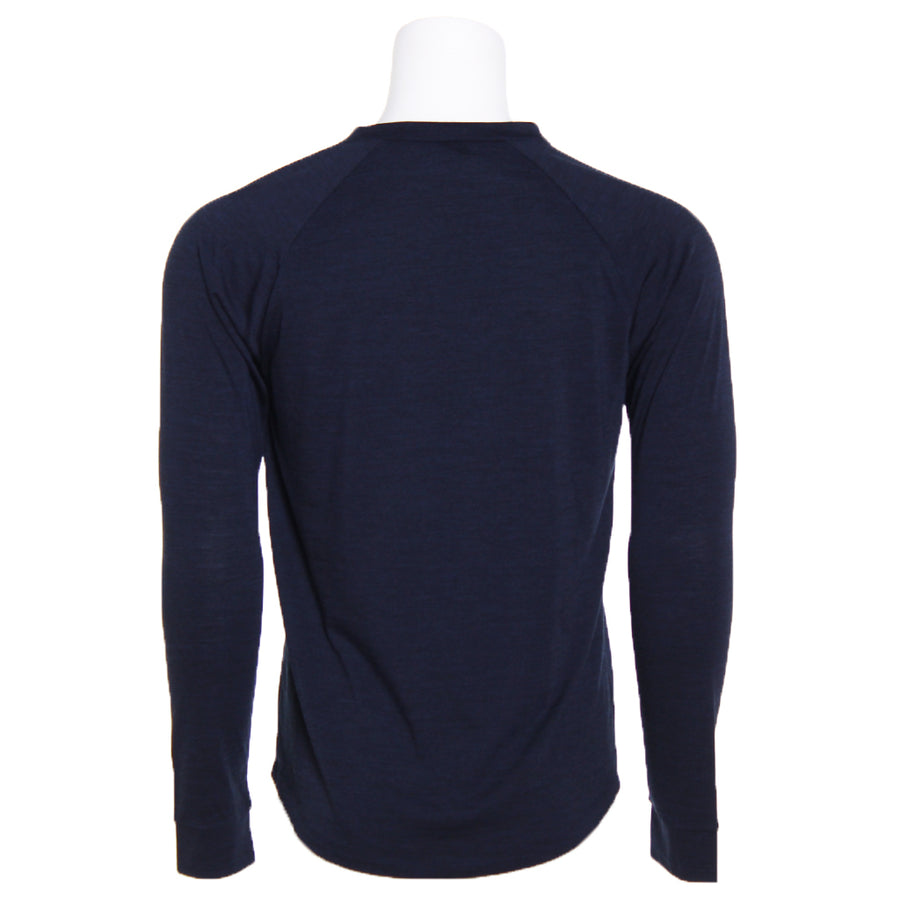 Men's Merino Wool Henley, Navy Heather