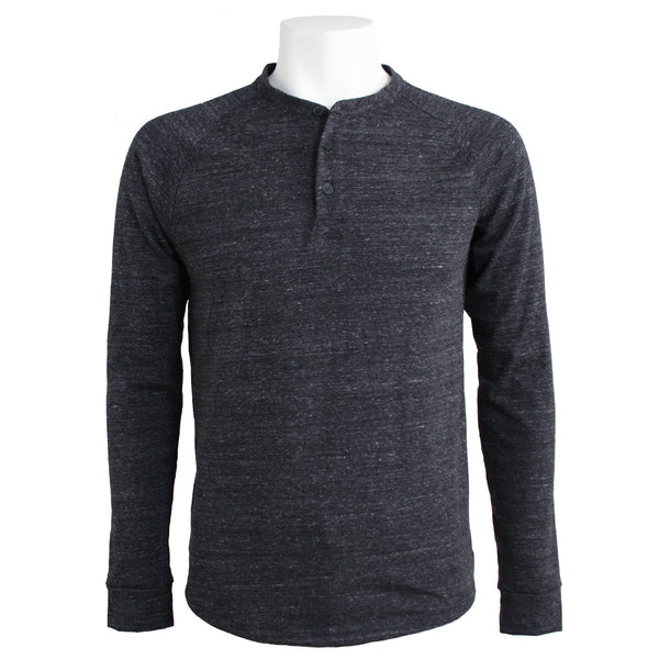 Men's Tri-Blend Henley, Heather Black