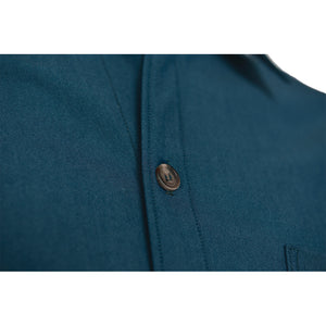 Men's Merino Woven Button-Down, Ocean Blue