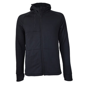 Men's Polartec Fleece Hoodie, Black Grid