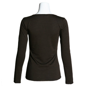 Women's Merino Wool Henley, Chocolate