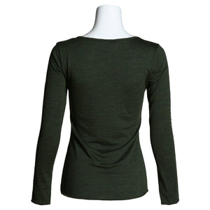 Women's Merino Wool Henley, Forest