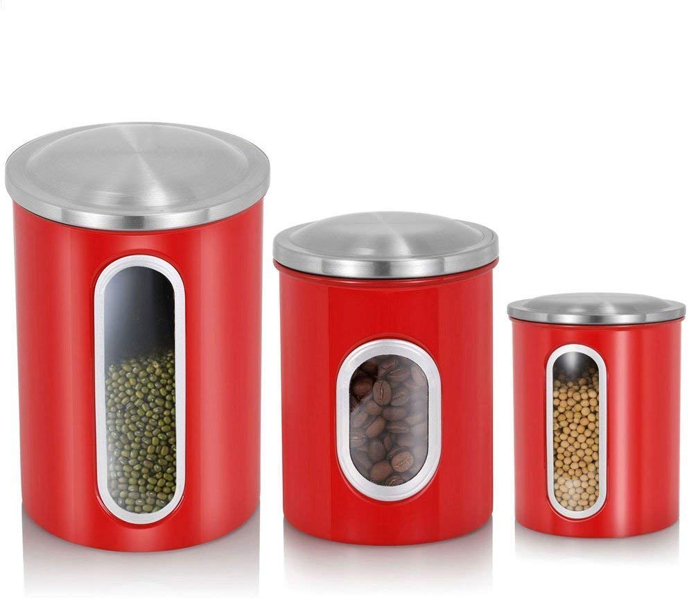 3-Piece Brushed Stainless Steel Nested Canister Airtight Storage Food Storage