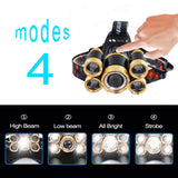 Headlamp Flashlight Rechargeable 4 Working Modes Zoom able