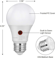 4-Pack Dusk to Dawn LED Light Bulb, Automatic On/Off