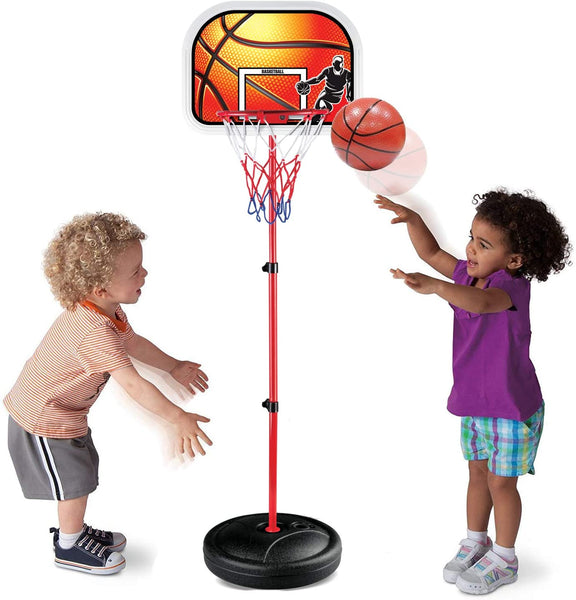 Kids Portable Mini Basketball Hoop and Stand - Height Adjustable Toy Set with Metal Rim