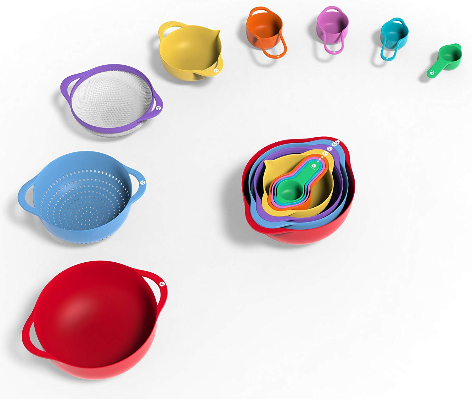 13 Piece Mixing Bowl Set - Colorful Kitchen Bowls