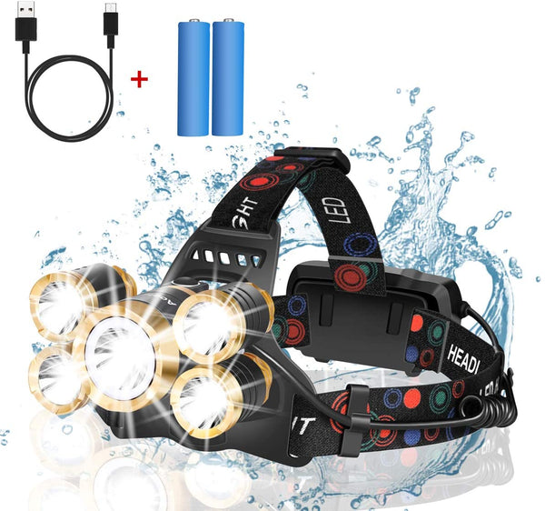 Headlamp Rechargeable,12000 Lumen Ultra Bright 5 LED Headlight Flashlight,Brightest USB