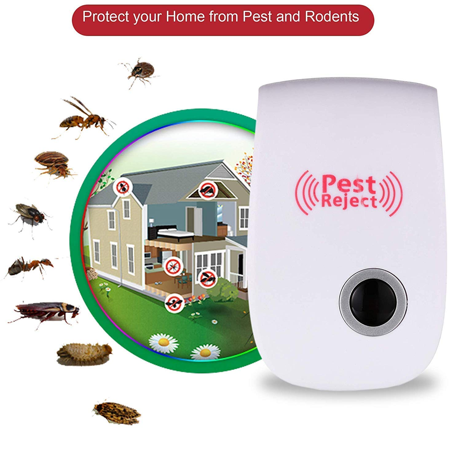 Pest Reject Ultrasonic Controller for Insects Bug 4 Pack
