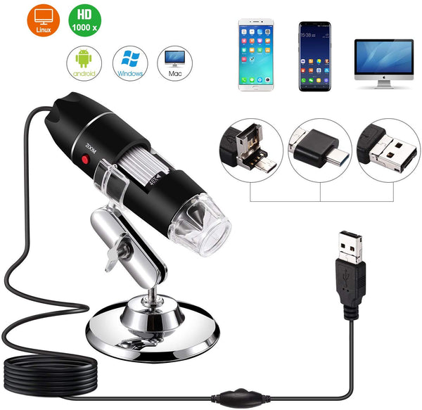40 to 1000 x Magnification Endoscope, 8 LED USB 2.0 Digital Microscope