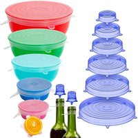 16 Pack Silicone Stretch Lids Reusable Durable Fit Different sizes