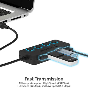 4-Port USB 2.0 Hub with Individual Power Switches and LEDs HB-UMLS