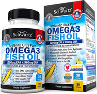 Omega 3 Fish Oil Supplement – Immune & Heart Support Benefits 1200 mg 90 softgels