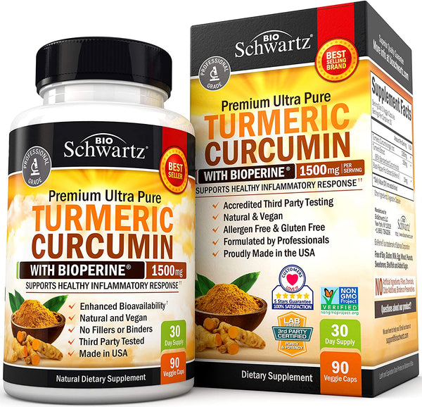 Turmeric Curcumin with BioPerine 1500mg. Highest Potency Available