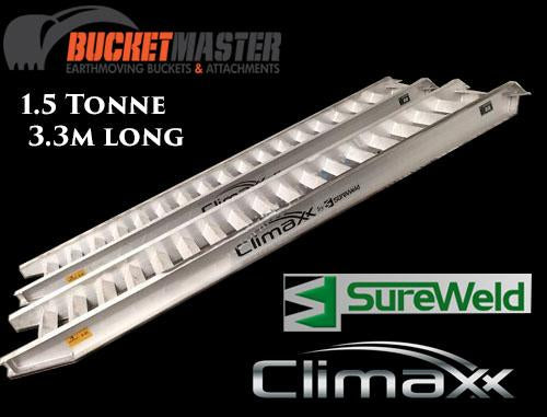 "Sureweld 1.5 Tonne ""Climaxx"" Aluminium Loading Ramps for Rubber Tracks & Rubber Tyres"
