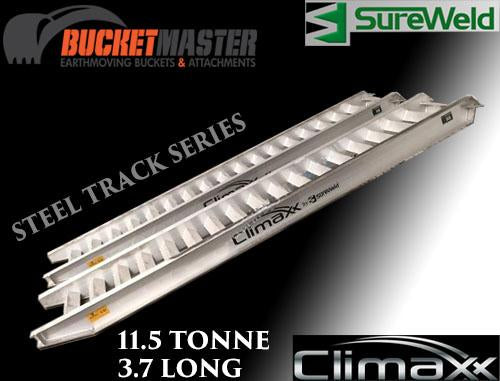 "Sureweld 11.5 Tonne 3.7m ""Climaxx"" T Series Aluminium Loading Ramps for Steel & Rubber Tracks"