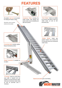 "Sureweld 4.8 Tonne 3.3m Long ""PT Series"" Extra Wide Loading Ramps for Rubber Tracks & Rubber Tyres"
