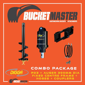 DIGGA AUGER COMBO PACKAGE - PD3 AUGER DRIVE+300Di AUGER +FIXED CENTRE FRAME - FOR SKID STEER