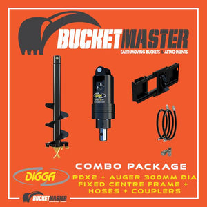 DIGGA AUGER COMBO PACKAGE - PDX2 AUGER DRIVE+300Di AUGER +FIXED CENTRE FRAME - FOR SKID STEER