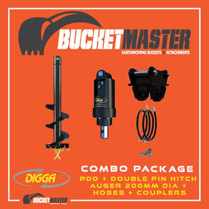 DIGGA AUGER COMBO PACKAGE - PDD AUGER DRIVE+200Di AUGER +DOUBLE PIN HITCH - FOR EXCAVATOR