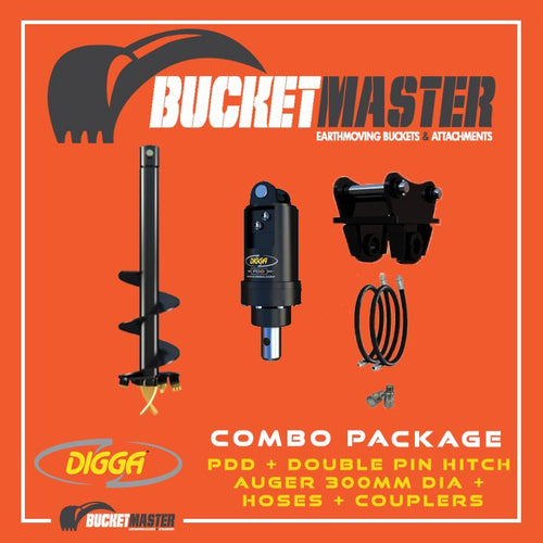 DIGGA AUGER COMBO PACKAGE - PDD AUGER DRIVE+300Di AUGER +DOUBLE PIN HITCH - FOR EXCAVATOR
