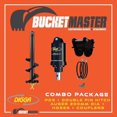 DIGGA AUGER COMBO PACKAGE - PD3 AUGER DRIVE+200Di AUGER +DOUBLE PIN HITCH - FOR EXCAVATOR