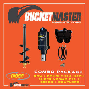 DIGGA AUGER COMBO PACKAGE - PD4 AUGER DRIVE+400Di AUGER +DOUBLE PIN HITCH - FOR EXCAVATOR