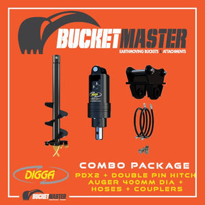 DIGGA AUGER COMBO PACKAGE - PDX2 AUGER DRIVE+400Di AUGER +DOUBLE PIN HITCH - FOR EXCAVATOR