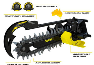 DIGGA BIGFOOT XD TRENCHER 900MM - Suits 5T-8T - COMBO Chain - EXCAVATOR, SKID STEER, LOADER, BOBCAT