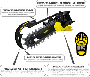 DIGGA BIGFOOT XD TRENCHER 1200MM - Suits 5T-8T - COMBO Chain - EXCAVATOR, SKID STEER, LOADER, BOBCAT
