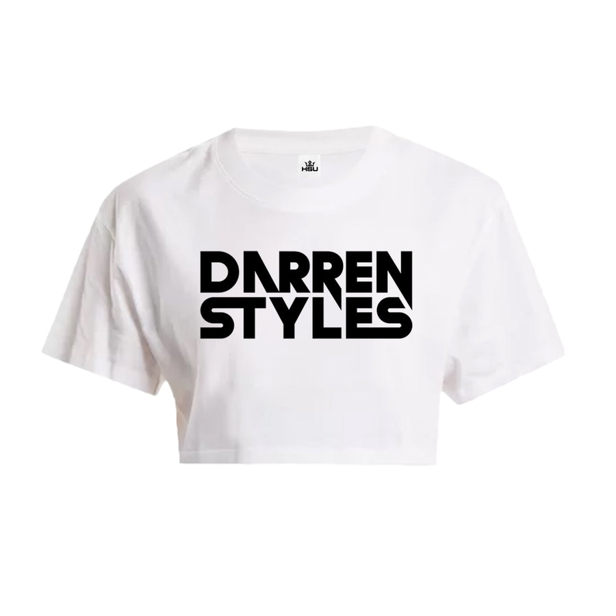 Darren Styles Crop Top (Chest Print) (White)