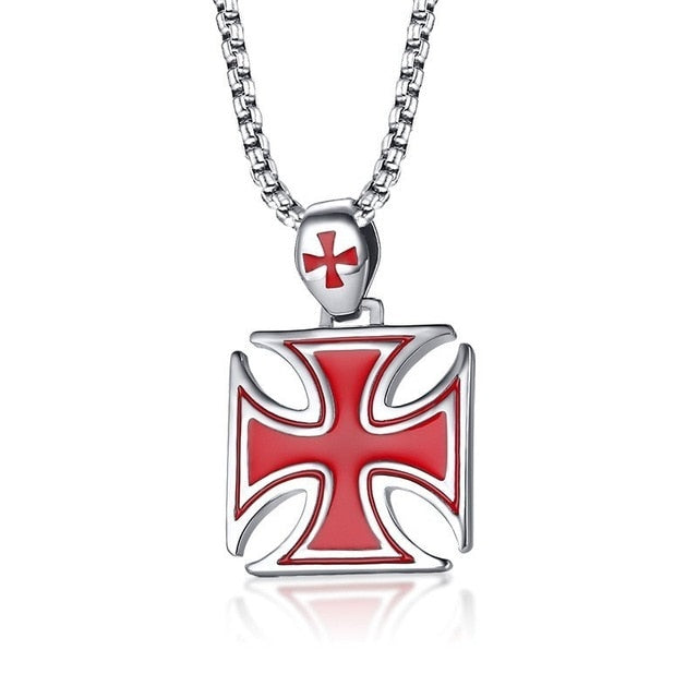 Red Iron Cross Stainless Steel Knights Templar Pendant Necklace
