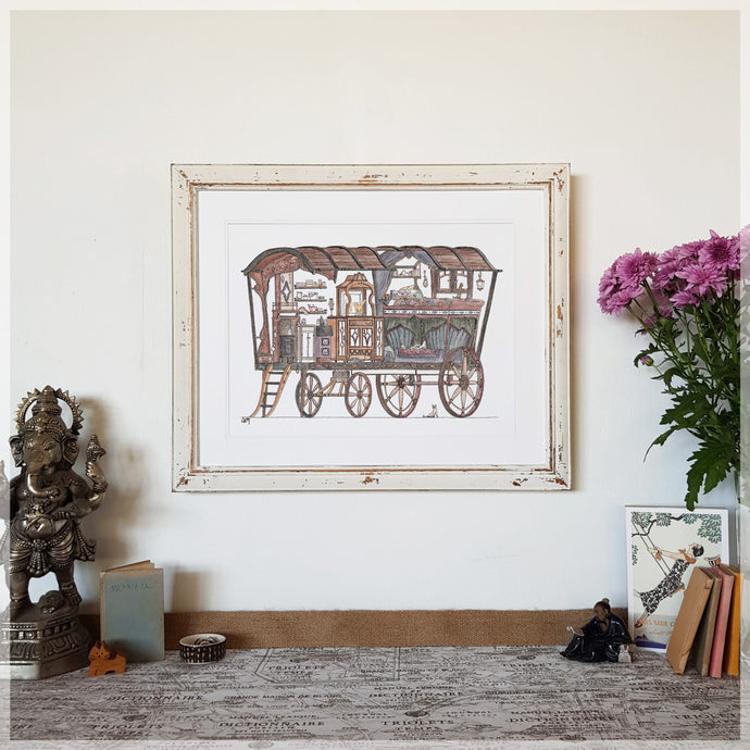 Gypsy Caravan with 10 Hidden Cats - A3 Art Print