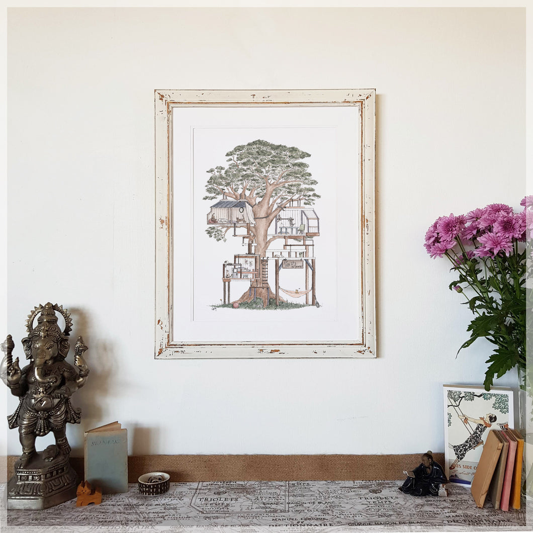 Treehouse with 10 Hidden Cats - A3 Art Print