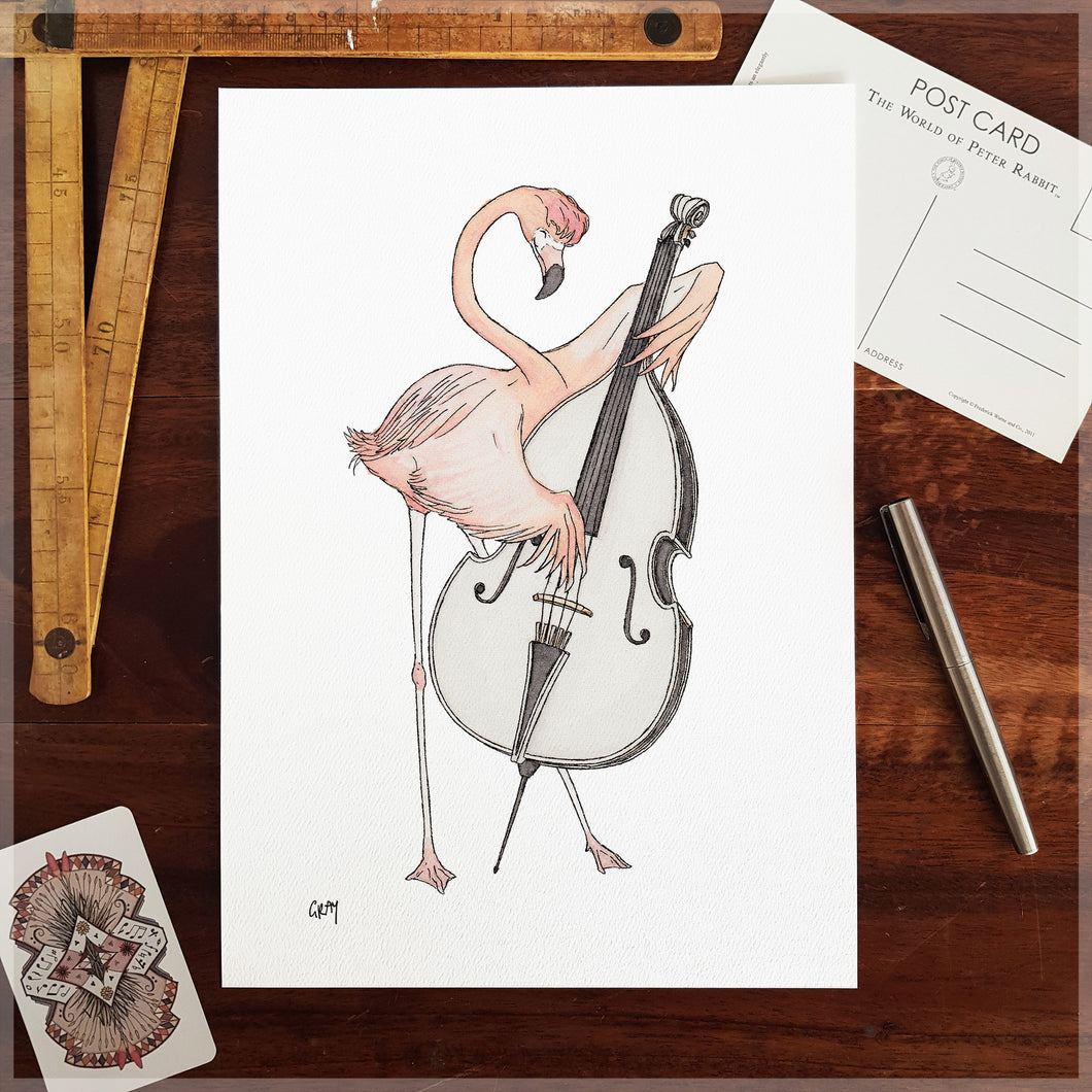 The Flamingo - A4 Art Print