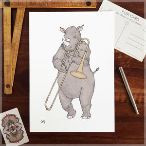 The Rhino - A4 Art Print