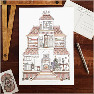 Gingerbread House with 10 Hidden Cats - A4 Art Print