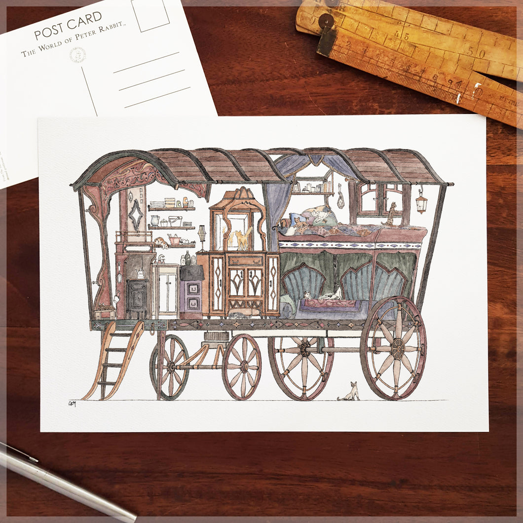 Gypsy Caravan with 10 Hidden Cats - A4 Art Print