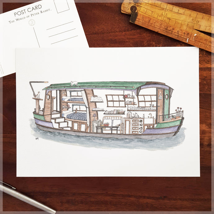 Houseboat with 10 Hidden Cats - A4 Art Print
