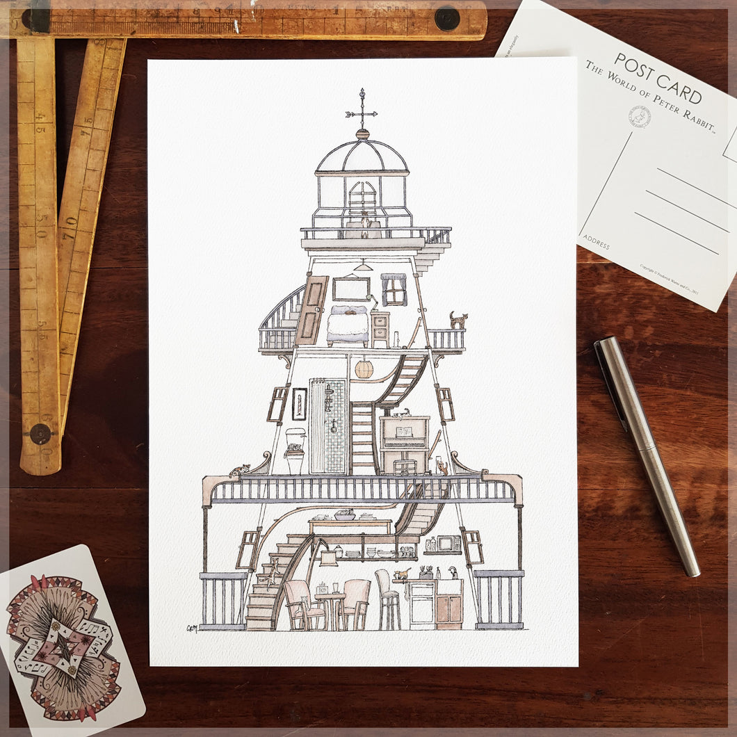 Lighthouse with 10 Hidden Cats - A4 Art Print