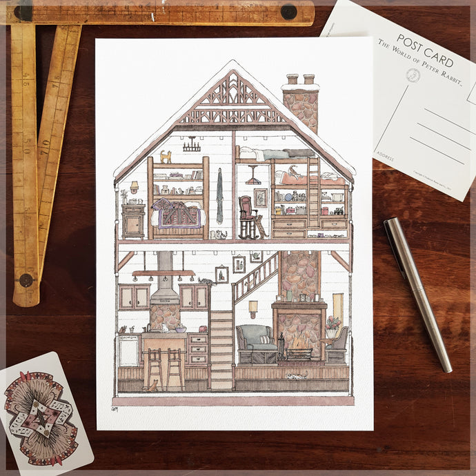 Log Cabin with 10 Hidden Cats - A4 Art Print