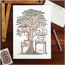 Treehouse with 10 Hidden Cats - A4 Art Print