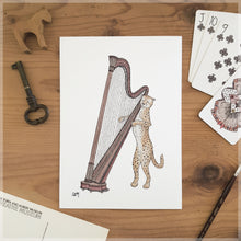 The Cheetah & Her Harp - A5 Art Print